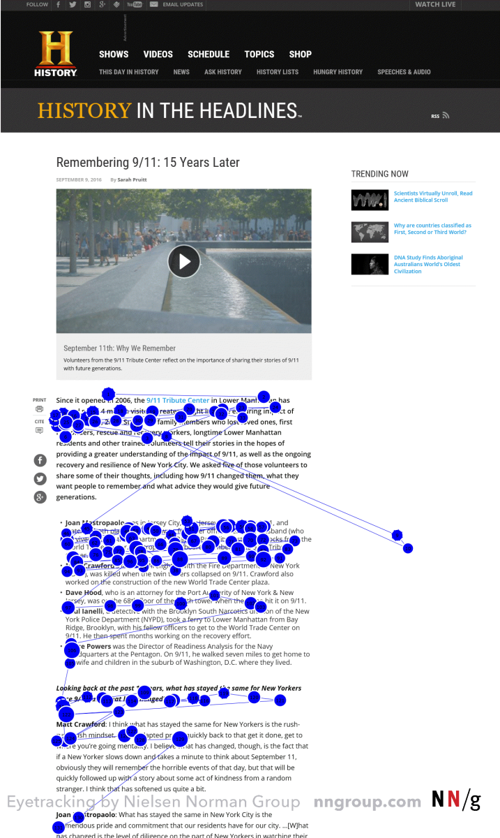 Another demonstration of user-attention being directed in an F-shape with online content. Each blue dot signifies an eye-fixation. The lines show the participant's scan path.