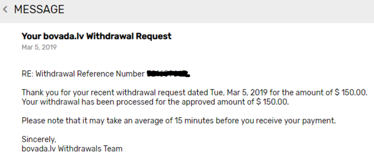 Message from Bovada alerting me that my withdrawal had been processed.