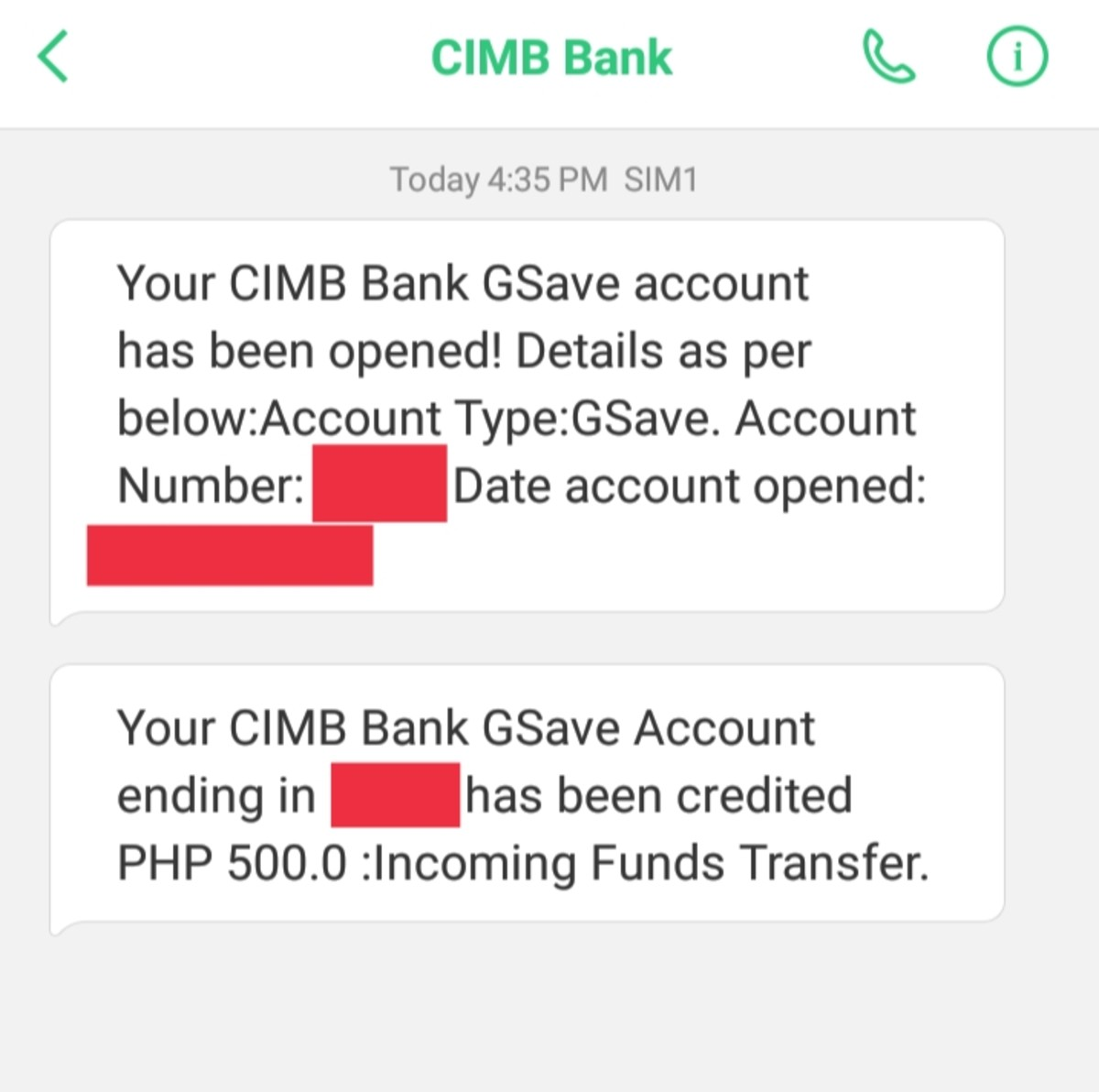 SMS notifications from CIMB Bank