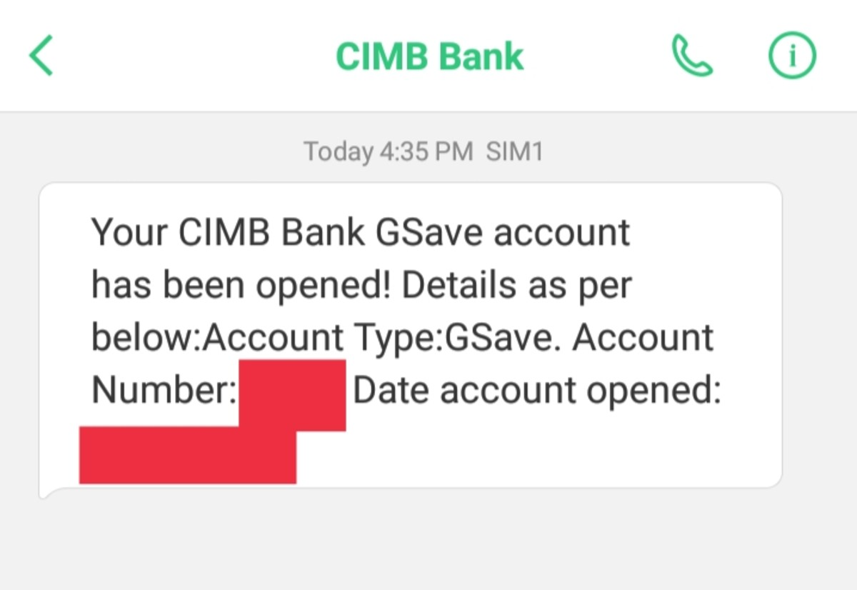 CIMB Bank text notification/receipt.
