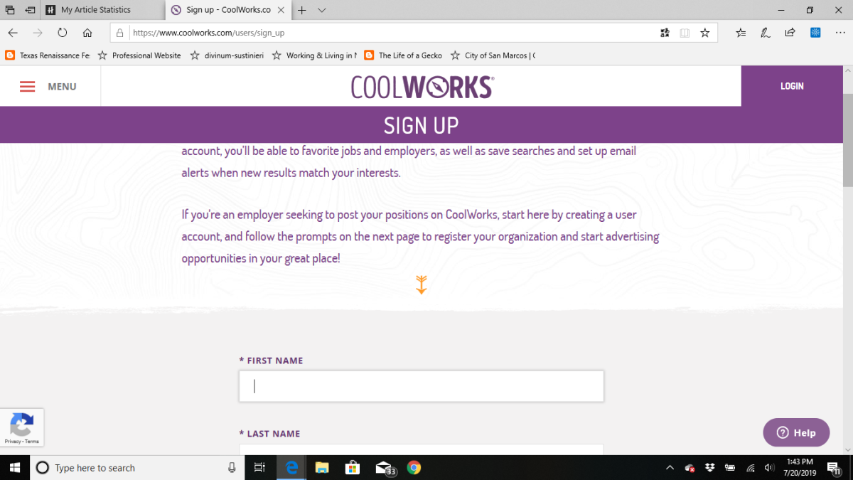 The CoolWorks registration sign-up page.