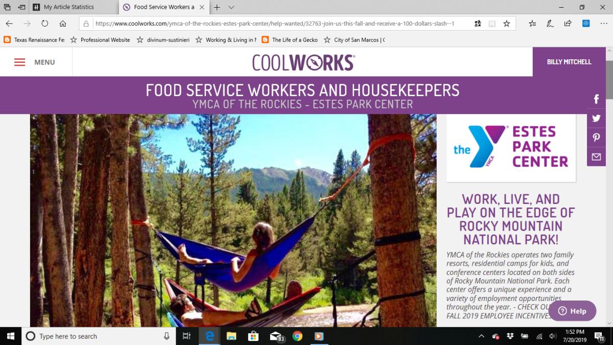 落基山脉的基督教青年会,埃斯特斯公园中心网页上的食品服务人员和管家的工作列表。