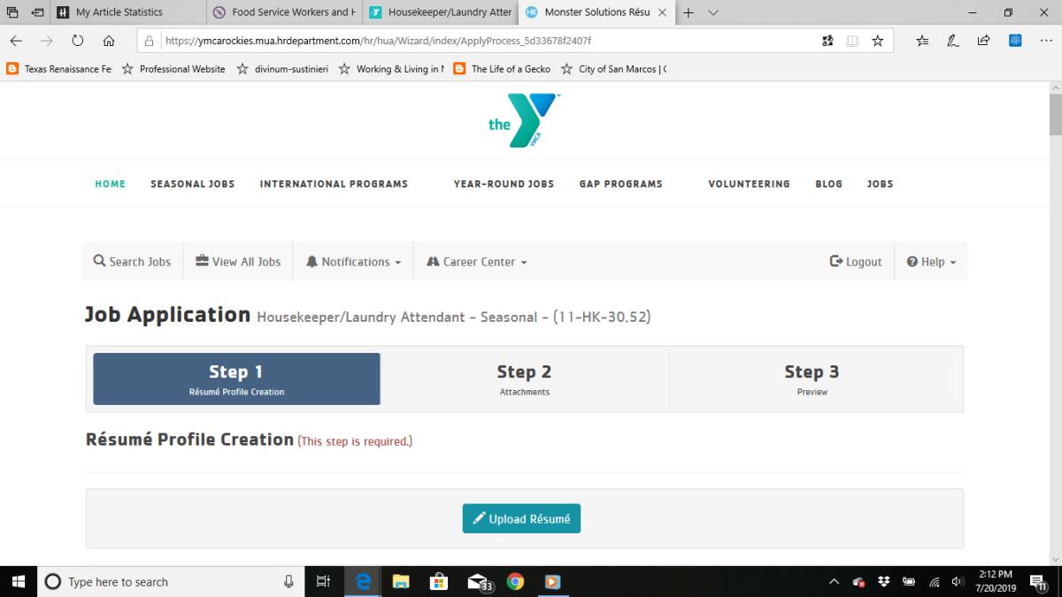 落基山脉基督教青年会网站上的工作申请。