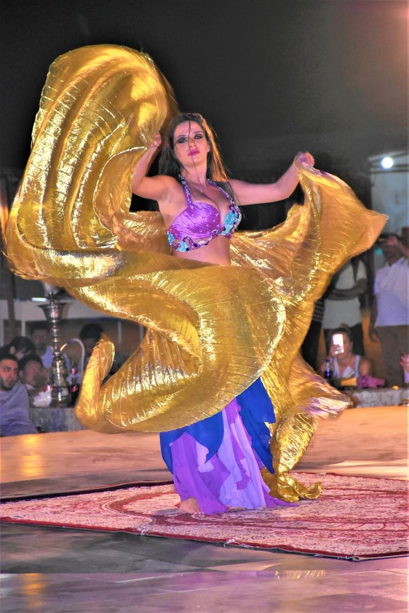 Belly dancer working  a veil in performance.