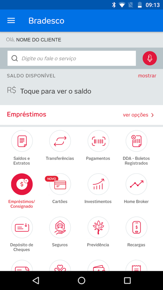The Bradesco app offers numerous services, which will be described below.
