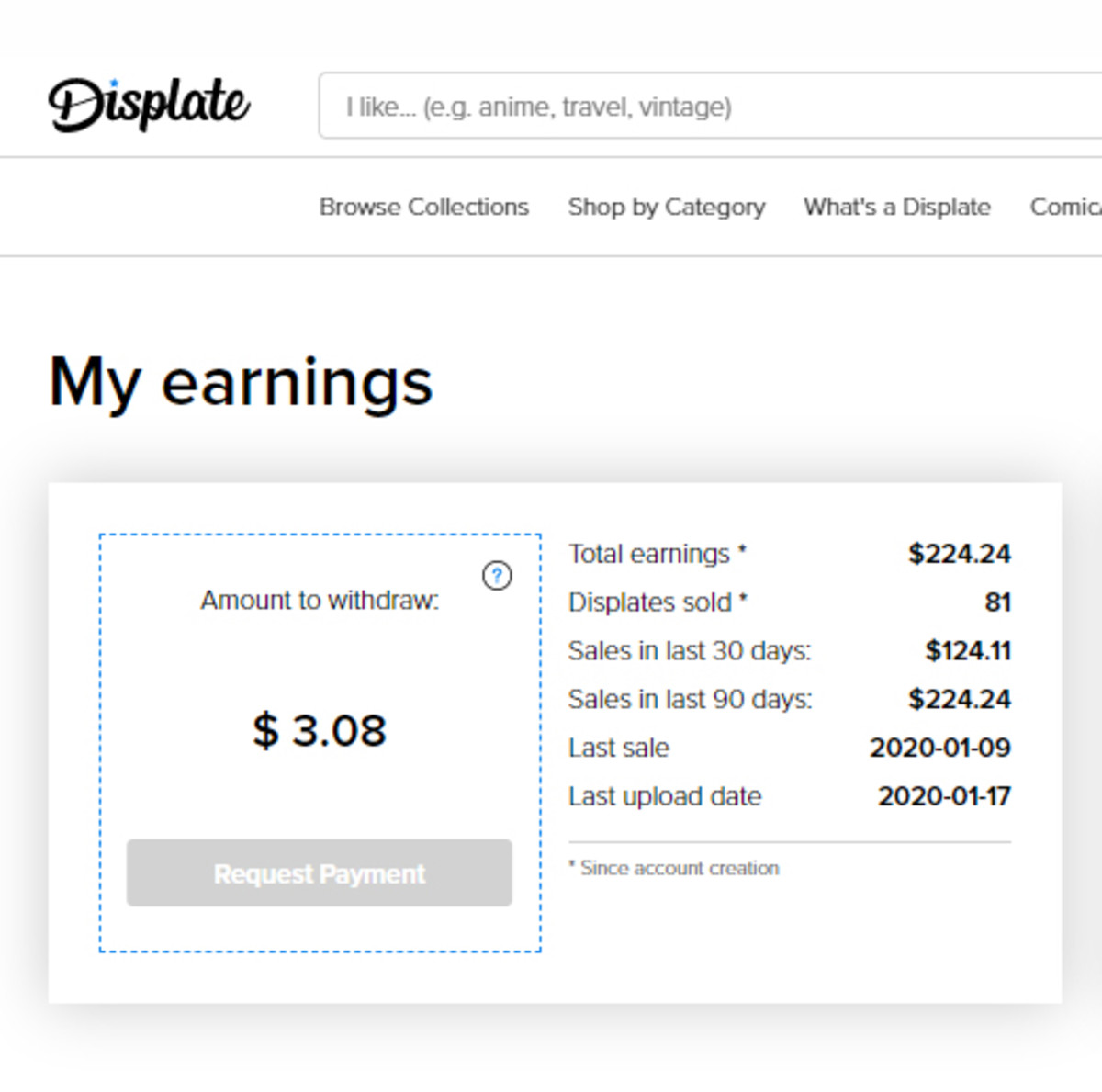 A summary of my earnings on Displate.