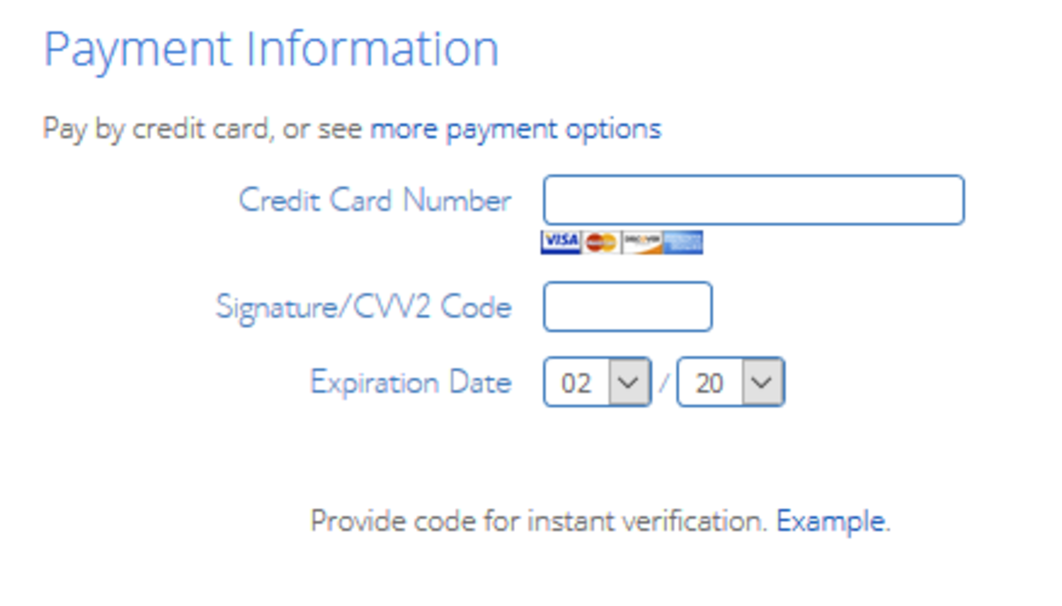 On this screen, you'll enter your payment info.