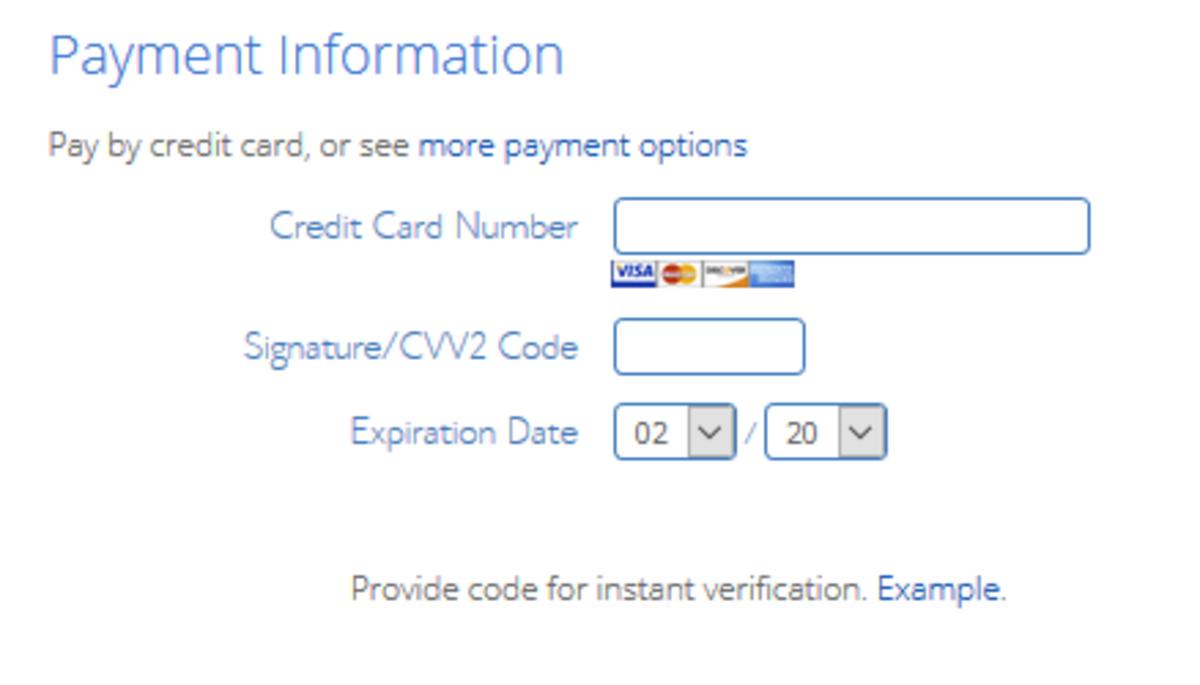 在此屏幕上,您将输入您的付款信息。