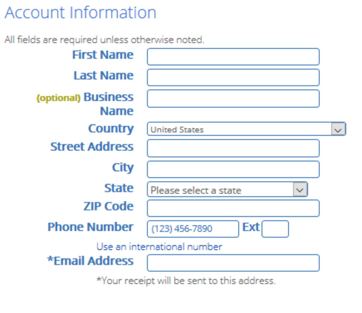 填写你账户的详细资料。