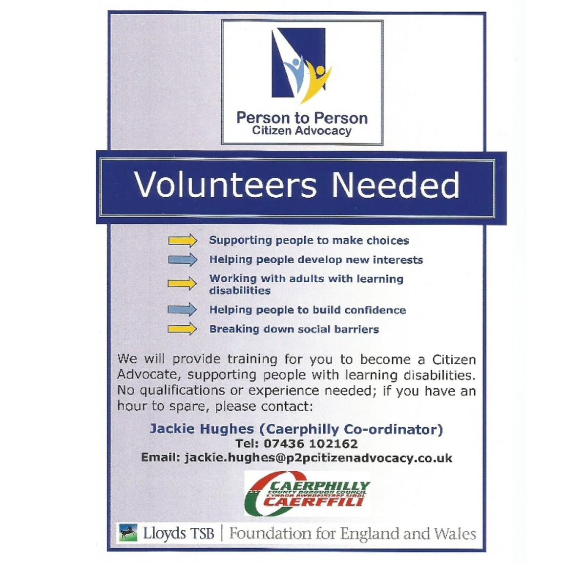 An example of a clear, concise volunteer recruitment poster.
