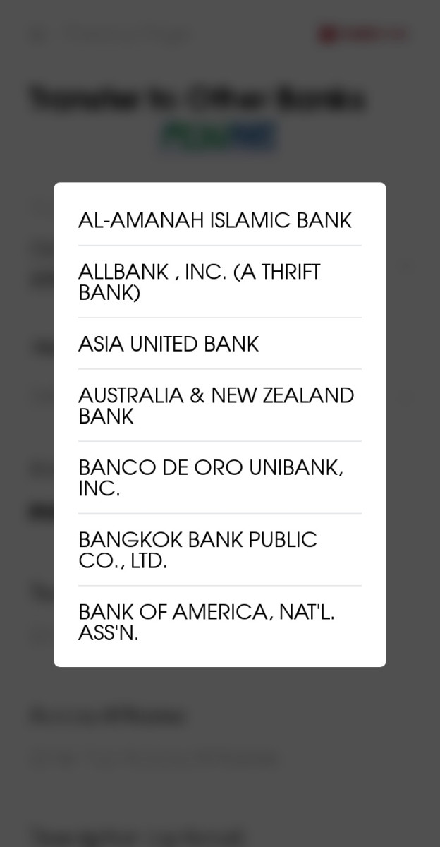 List of banks are shown in a drop-down form once field is selected