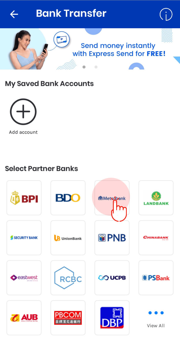 Select the bank to which you want your money transferred to, after which you will be directed to next page.