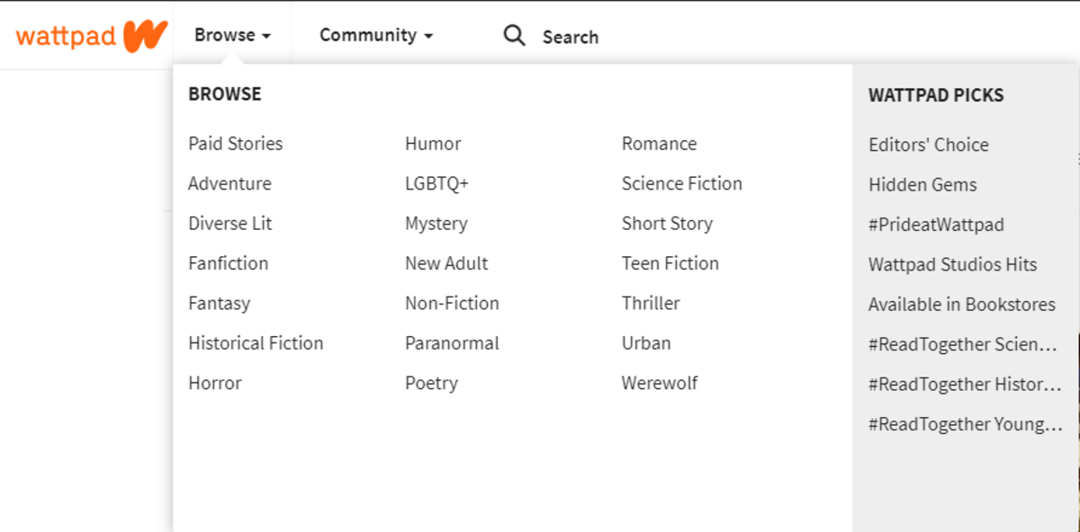 The many genres of Wattpad