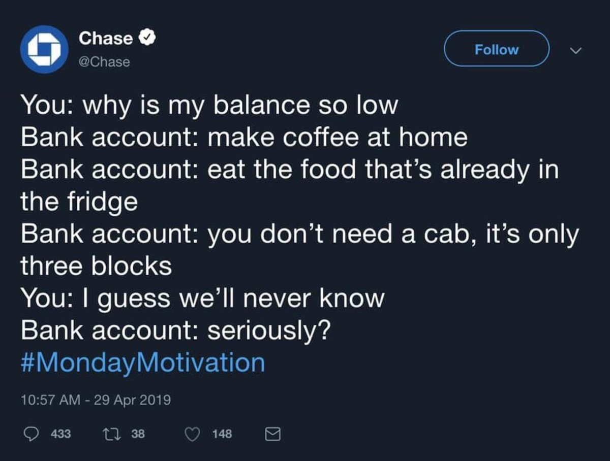 Chase Bank showed an astounding lack of self awareness—chiding people for not saving their money after requiring a substantial taxpayer bailout.
