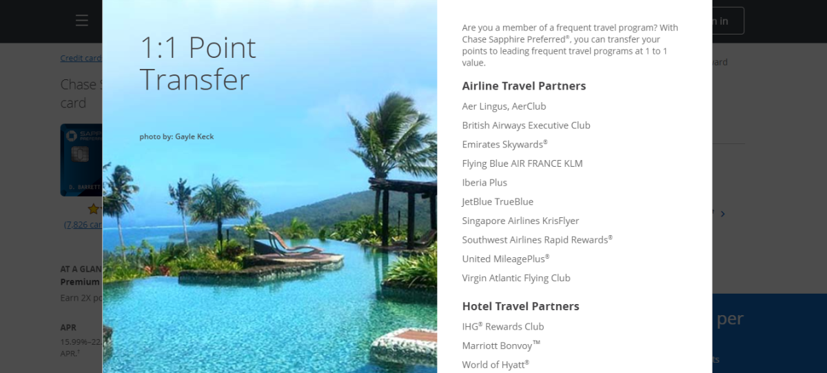 You can transfer your Ultimate Rewards points for loyalty points with these popular vendors at a 1:1 rate.