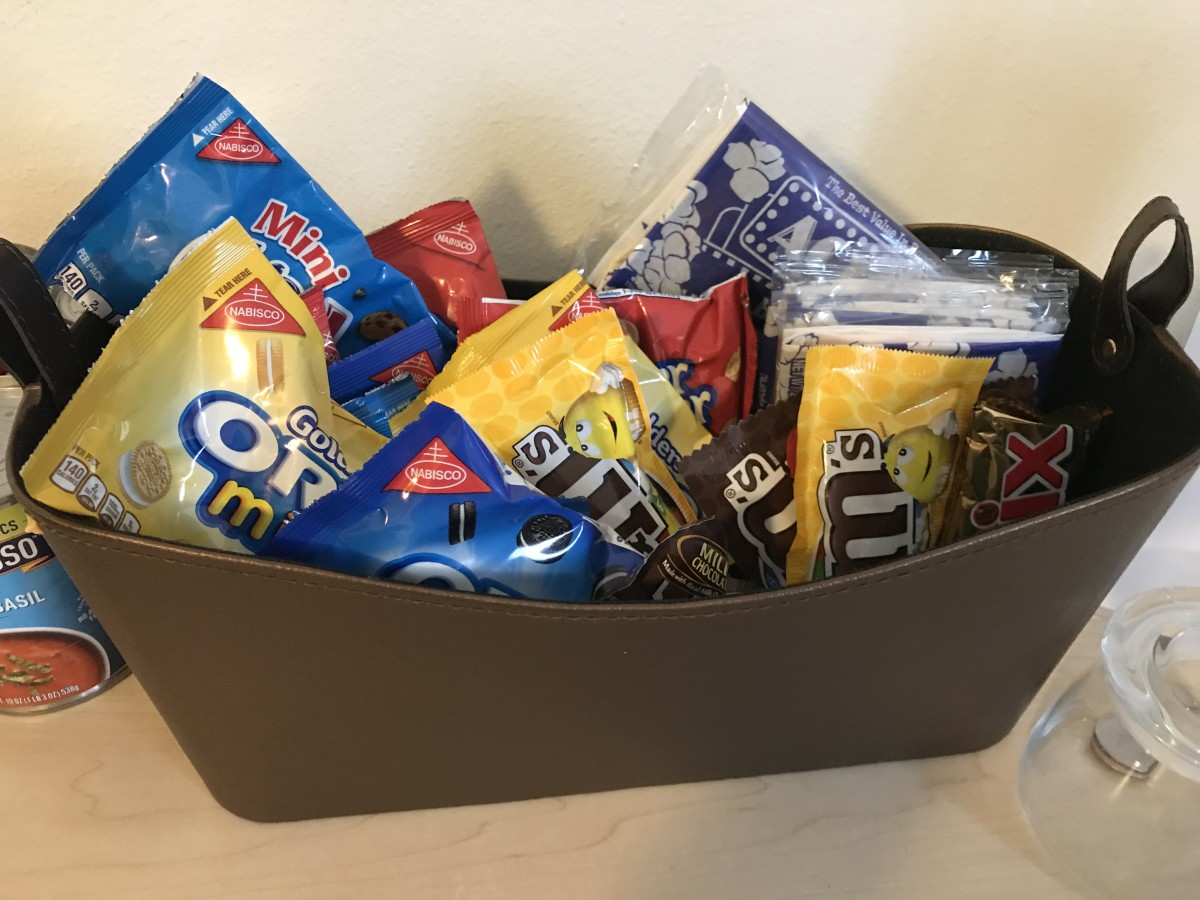 "Thoughtful amenities matter! Try leaving out a basket of goodies as an ""Honor Bar"" for your guests."