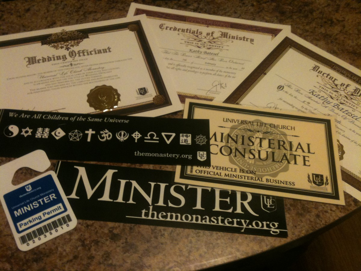 The ULC provided tools to get started as a Reverend.