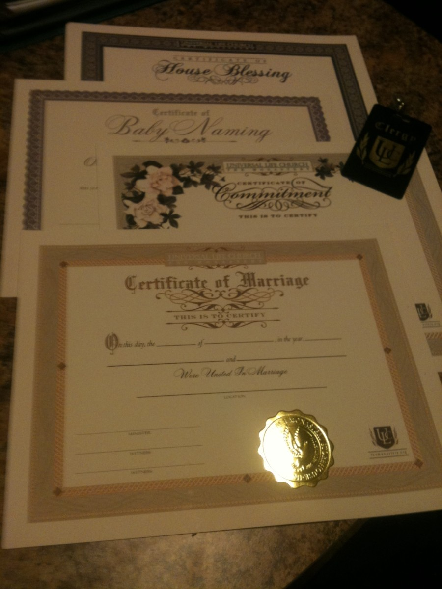 Ordained ministers can purchase embossed certificates to commemorate ceremonies they officiate.