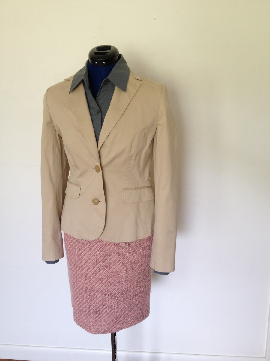 J. Crew pink tweed skirt.