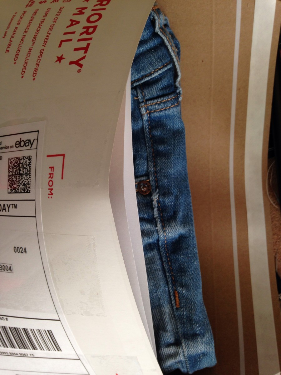 Save time and money by using USPS Flat Rate Envelopes to ship jeans.