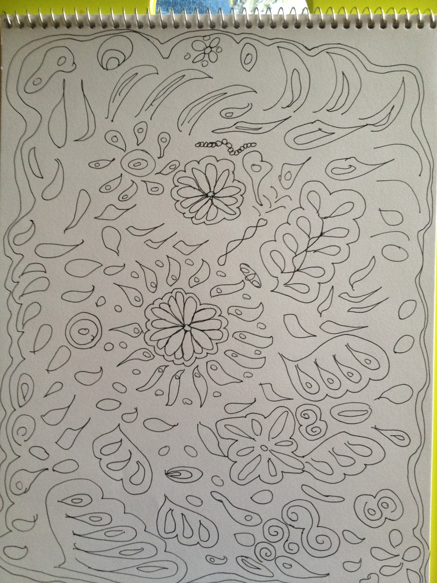 A colouring page: the result of a class I took on making my own colouring pages.