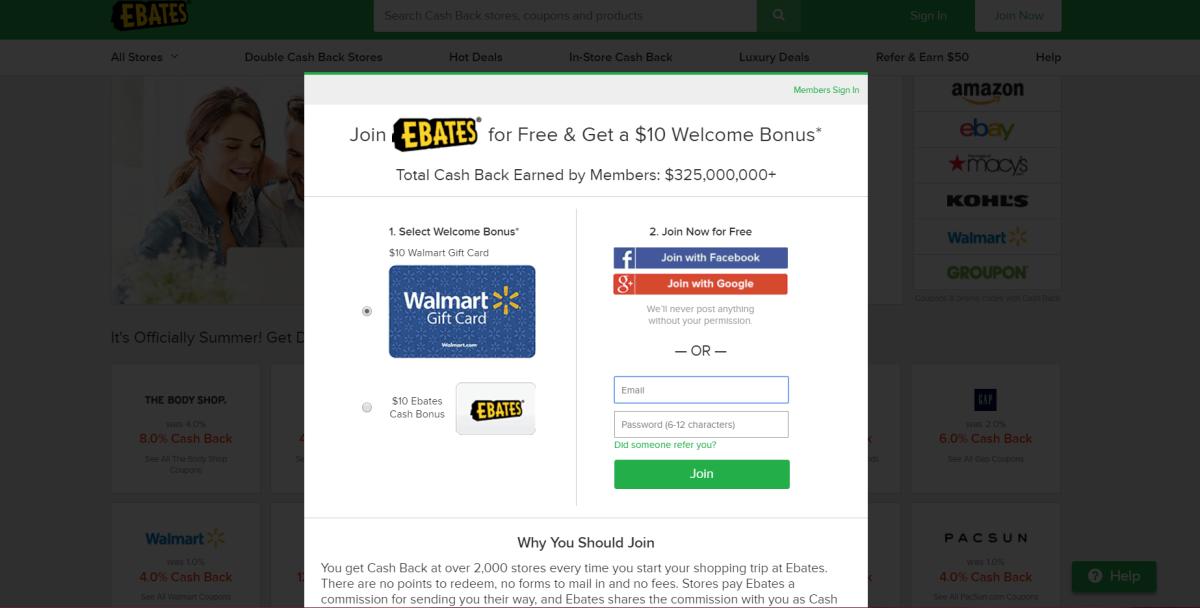 Ebates website