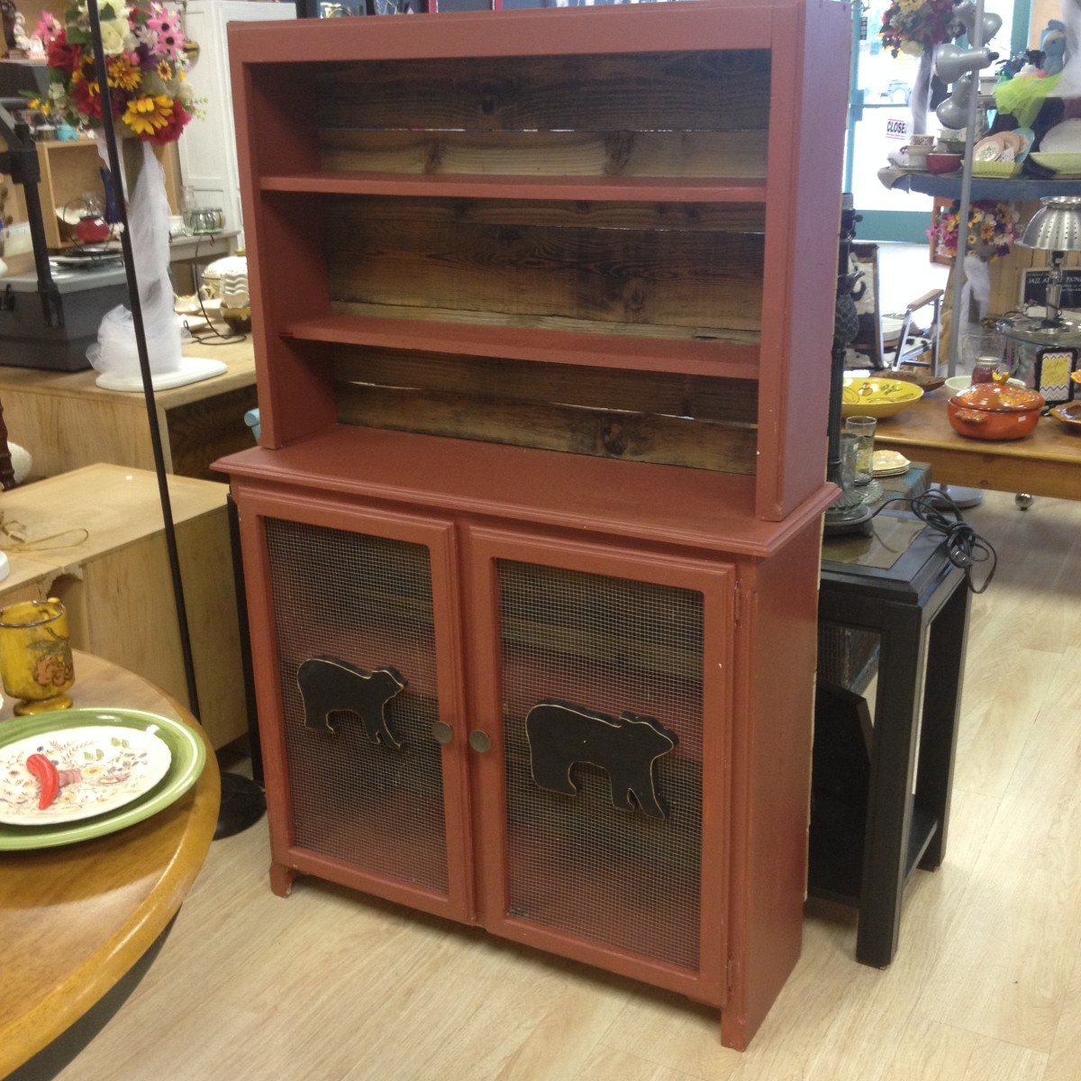 This is a hutch that was re purposed from an entertainment center at ReJunkery.