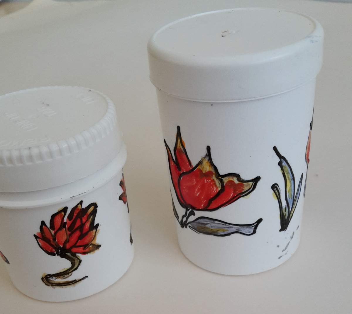 Plastic Pill Boxes Painted by Me