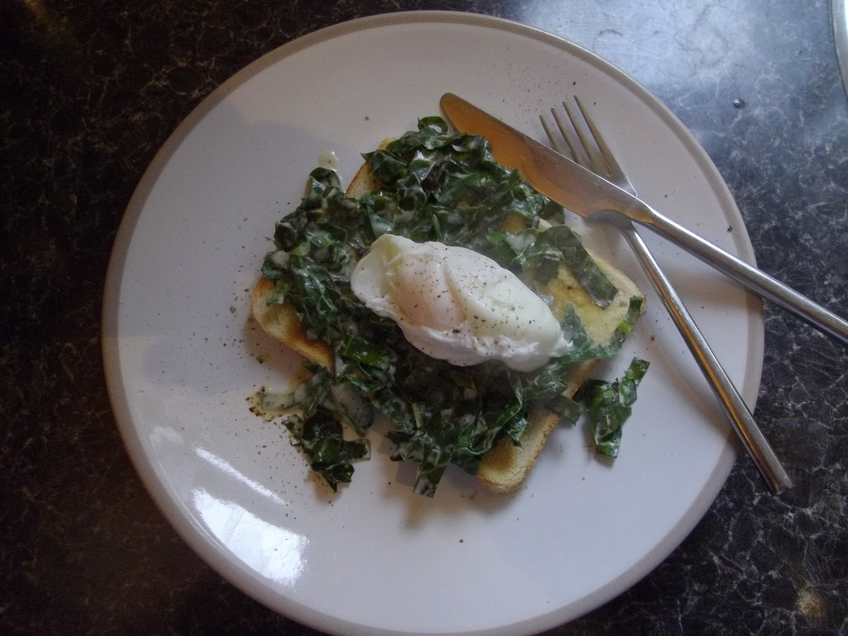Poached egg with spring greens on toast.