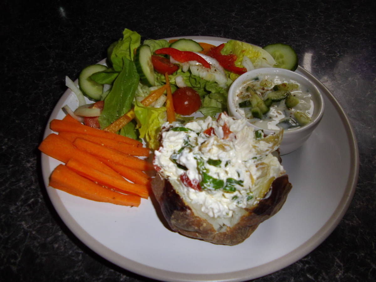 Jacket potato with feta cheese, onion and side salad.