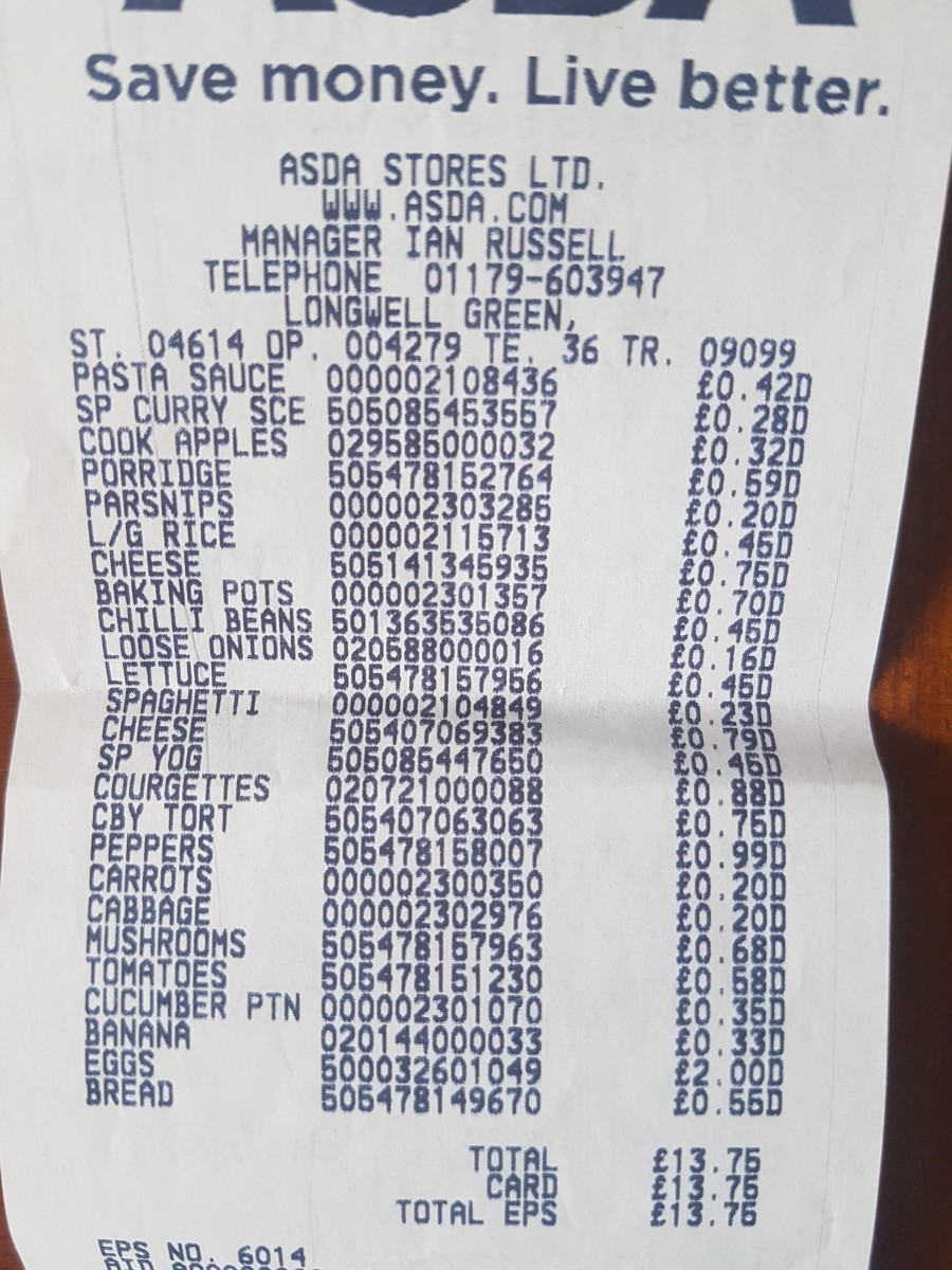 The receipt from ASDA. £14.75 for three meals a day for two people for a week.