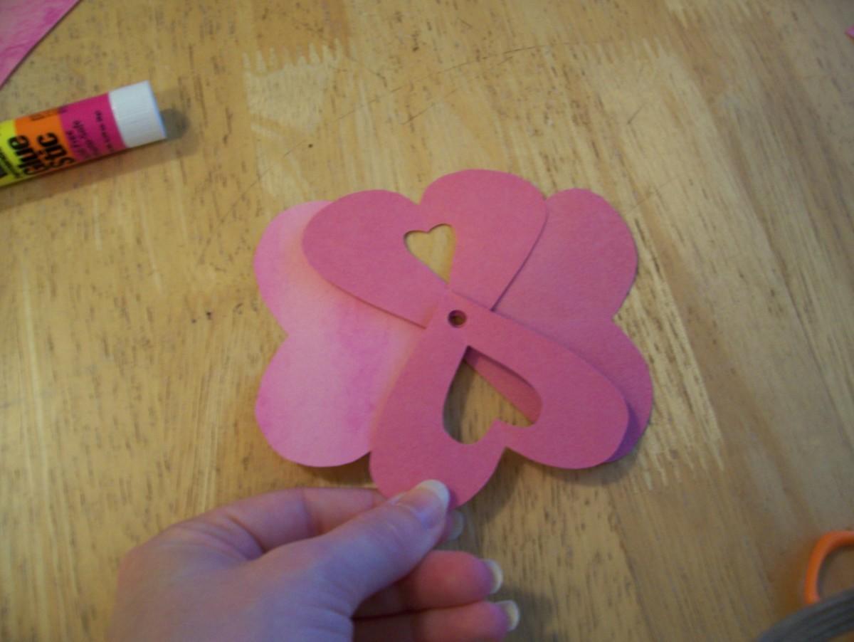 Glue the heart petals together.