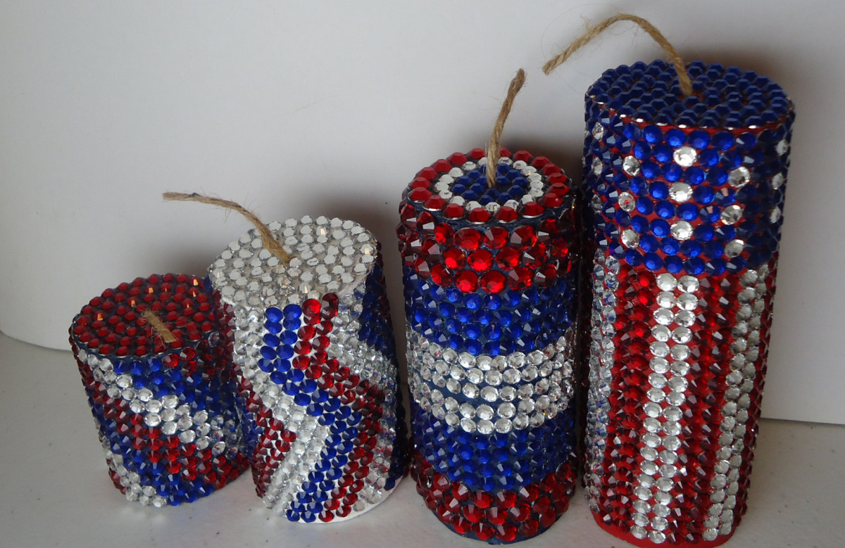 jeweled firecrackers- made using rhinestones instead of sequins