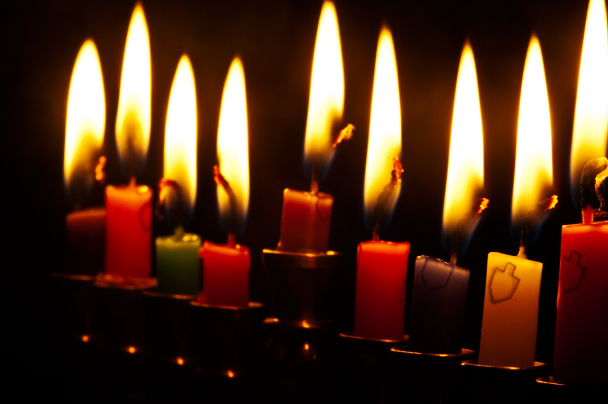 Hanukkah candles are lit in honor of the re-dedication of the Temple.