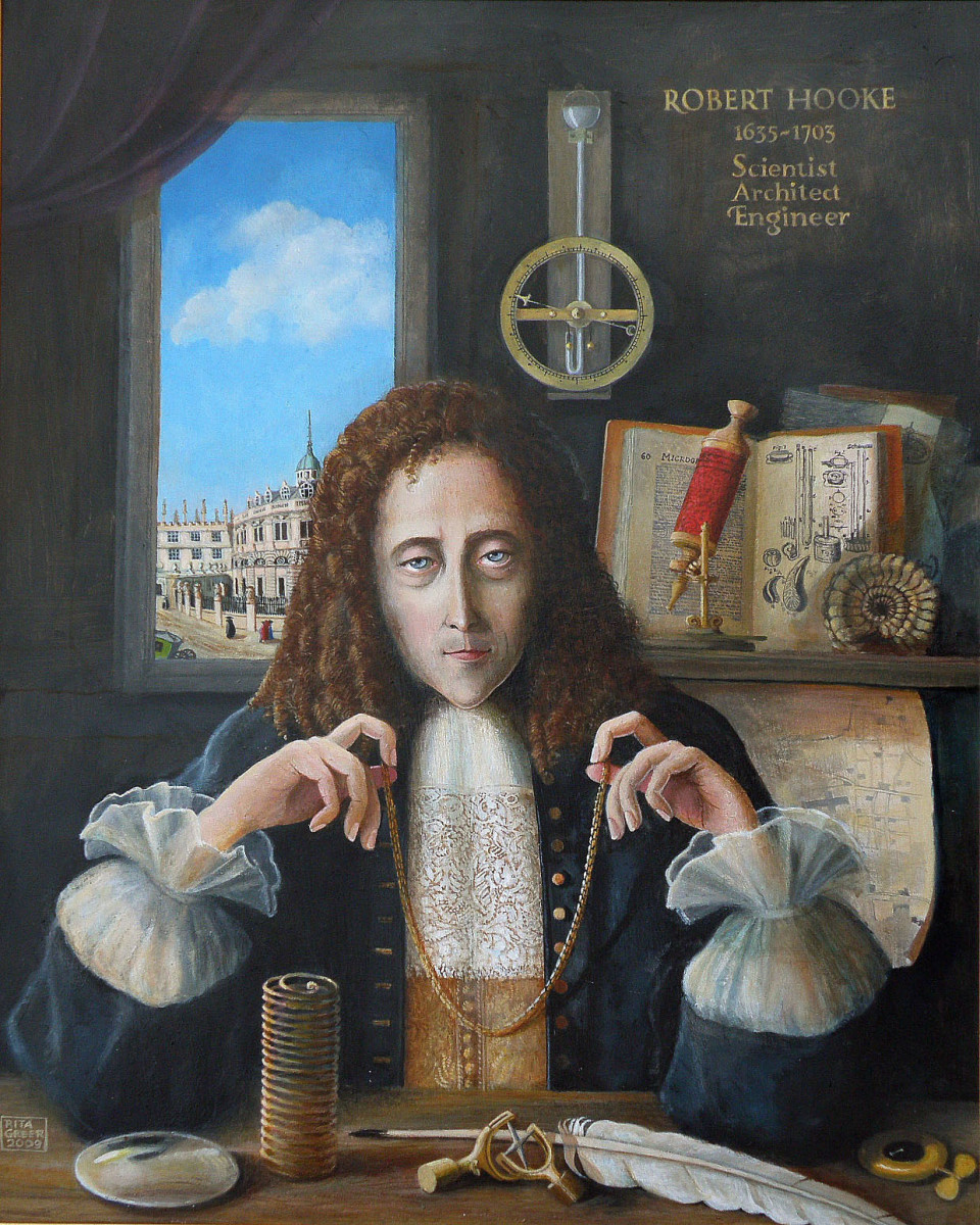 This oil painting of Robert Hooke (1635-1703) was created by Rita Greer in 2009.