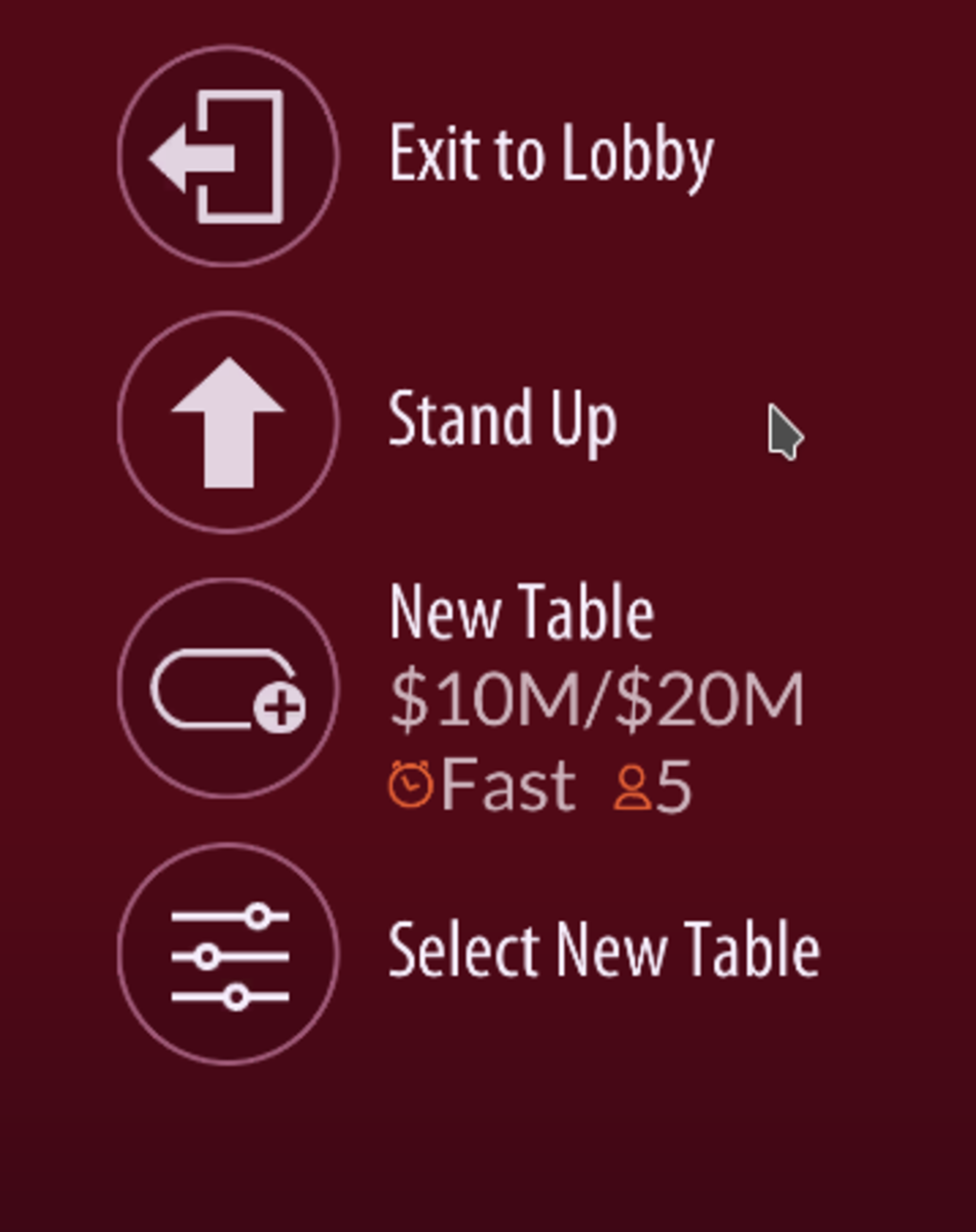 This is the menu. You can go back to the main menu, stand up, or join a new table.