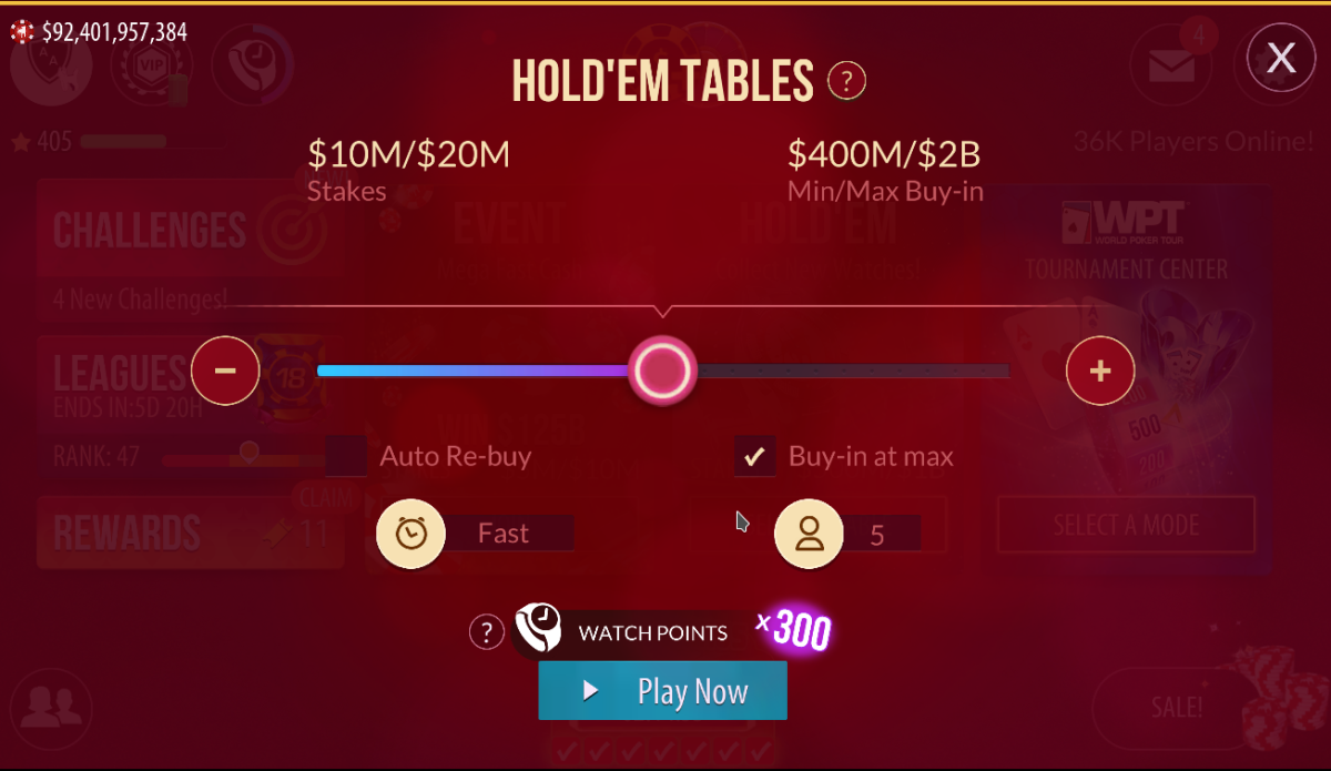 This is the stakes selection screen. I can change stakes, table speed, and table size.