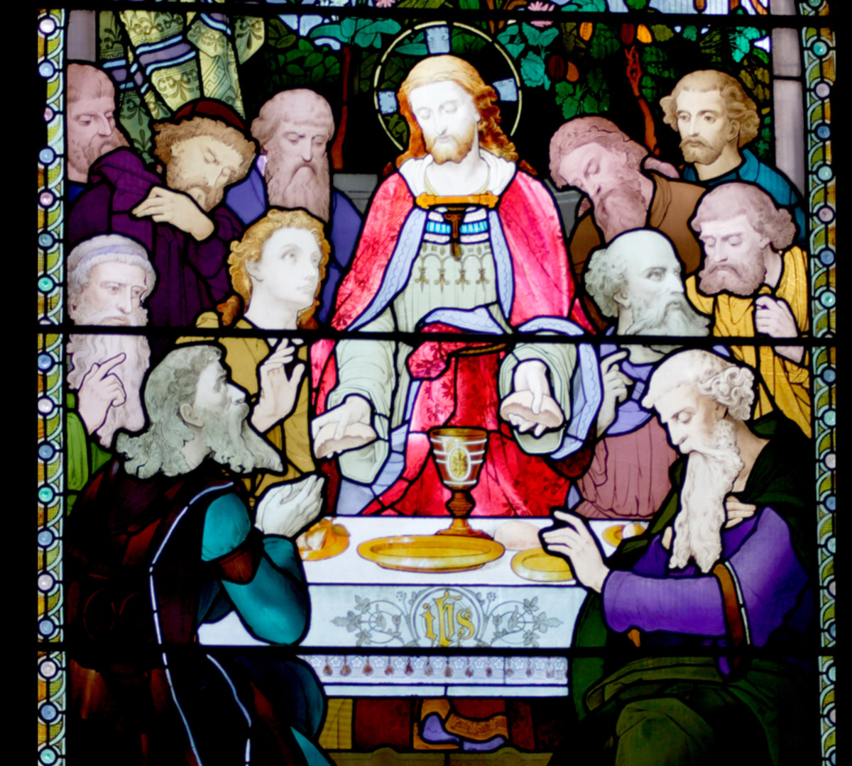 Stained window above the main altar in Yarm Parish Church, North Yorkshire, UK.