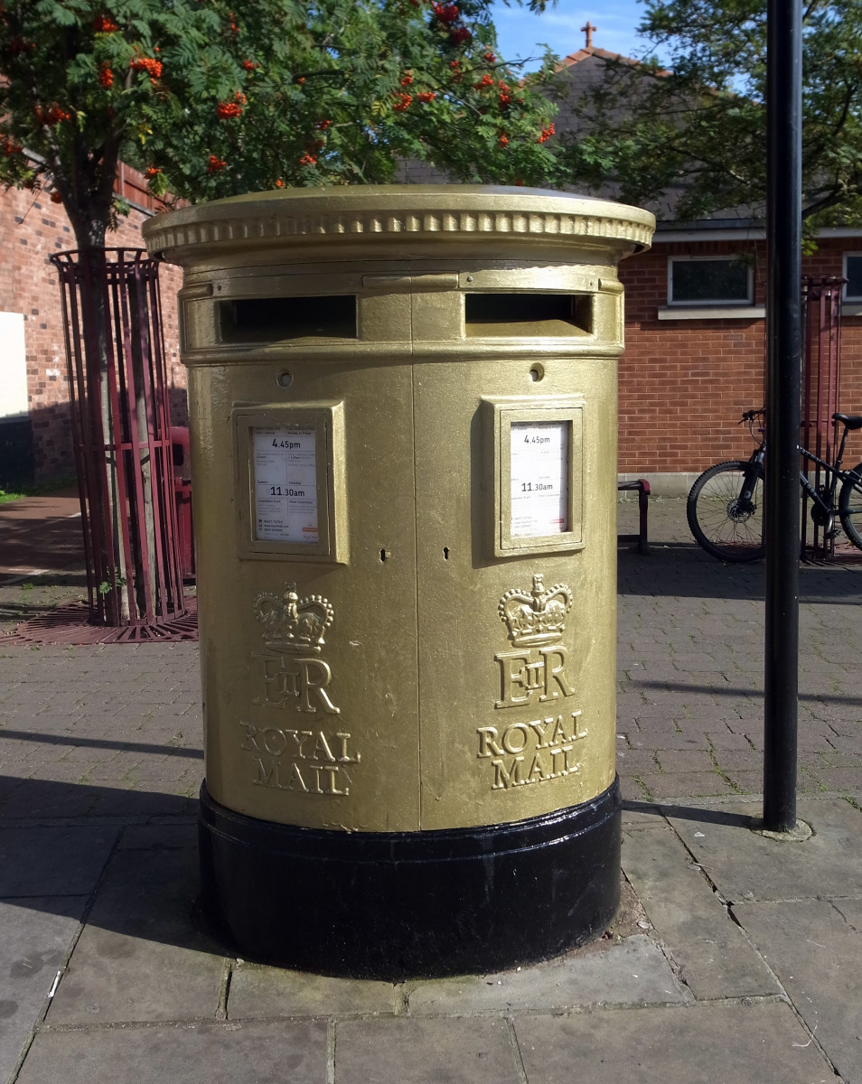 Royal Mail has painted more than 100 of its iconic and much-loved red post boxes gold to celebrate every Team GB and ParalympicsGB gold medal won during the London 2012 Olympic Games and Paralympic Games. The post boxes will remain permanently gold.
