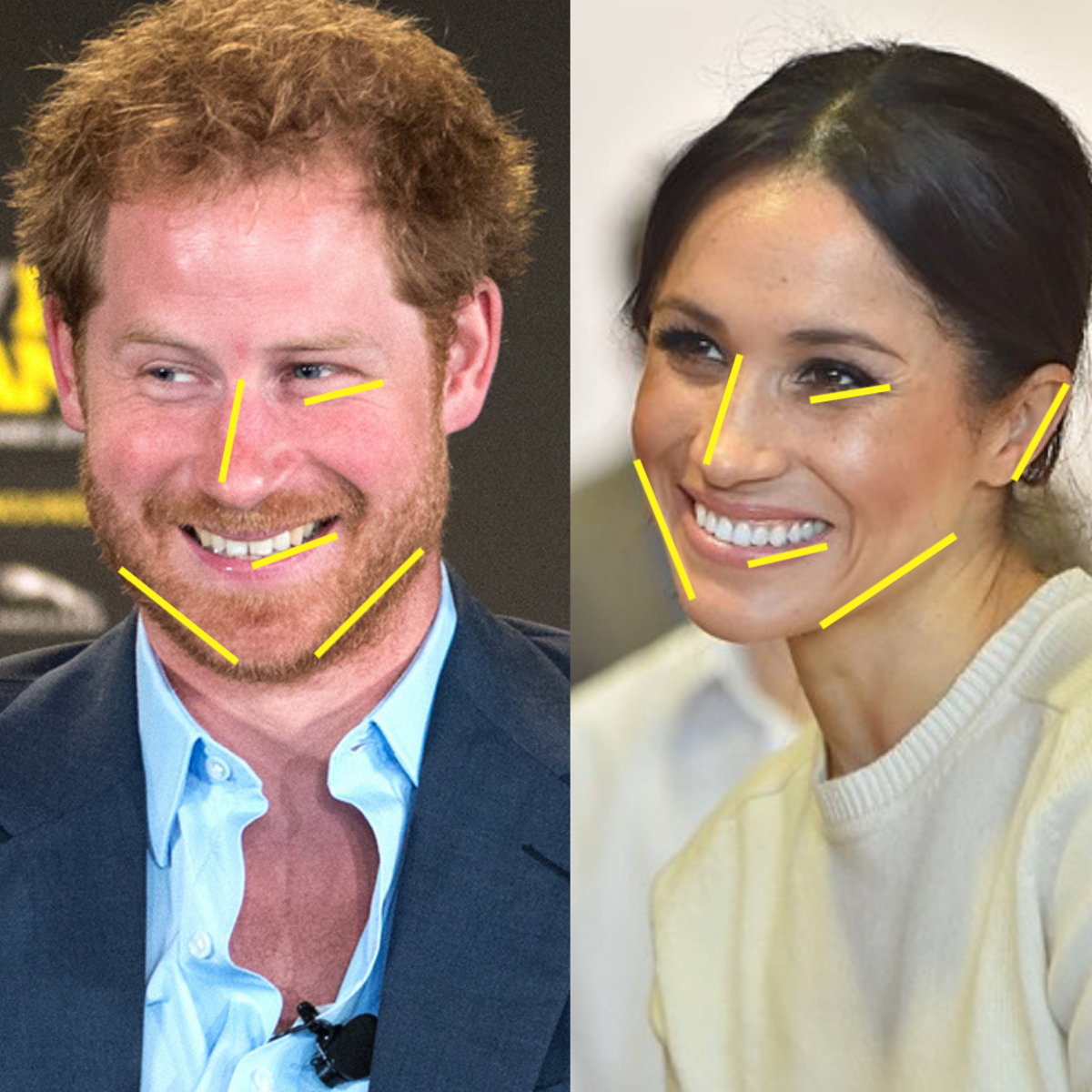 Prince Harry and Meghan Markle; the yellow markers indicate similarities.