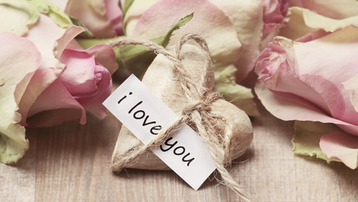 Love Note Tied to Heart Stone
