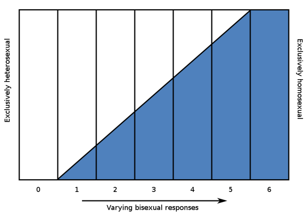 A chart showing the Kinsey Scale. Anyone who falls between 1 and 5 on the Kinsey scale can identify as bi. Bi people who are equally attracted to males and females are a Kinsey 3.
