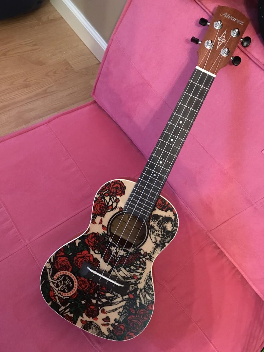 "My Alvarez Grateful Dead concert ukulele in ""roses."""