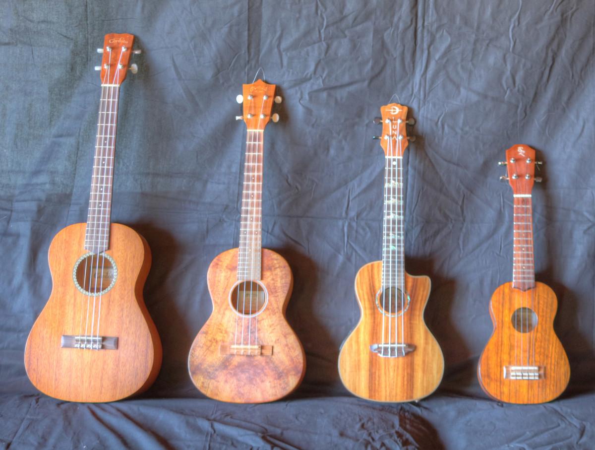 Baritone, Tenor, Concert, Soprano ukuleles (cropped)