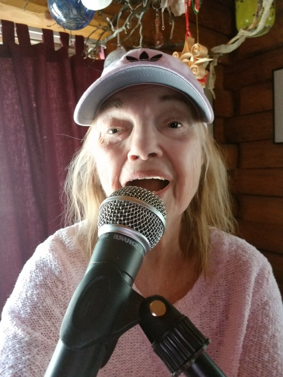 Author, Audrey Hunt, rehearsing for her gig.  No alcohol permitted!