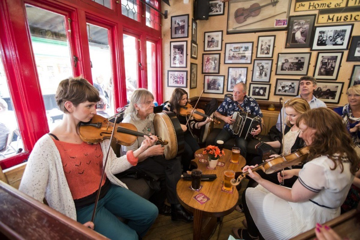 Traditional Irish Music Session at Tig Coili Galway.