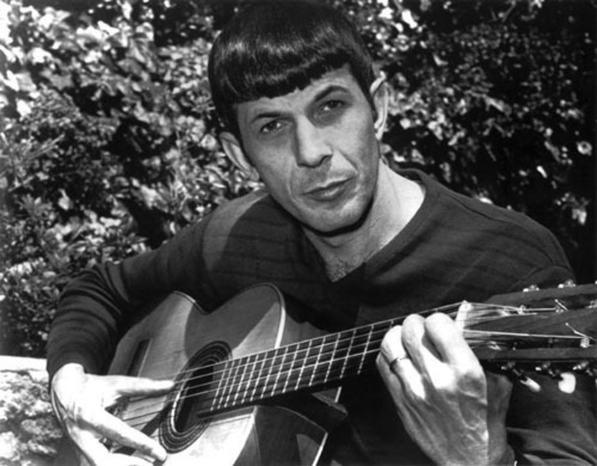"Spock (Leonard Nimoy) playing ""The Ballad of Bilbo Baggins."""