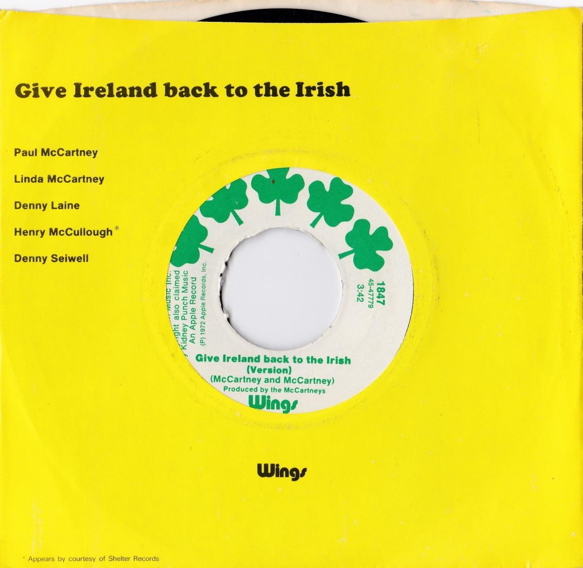 Give Ireland Back to the Irish 1972 vinyl single