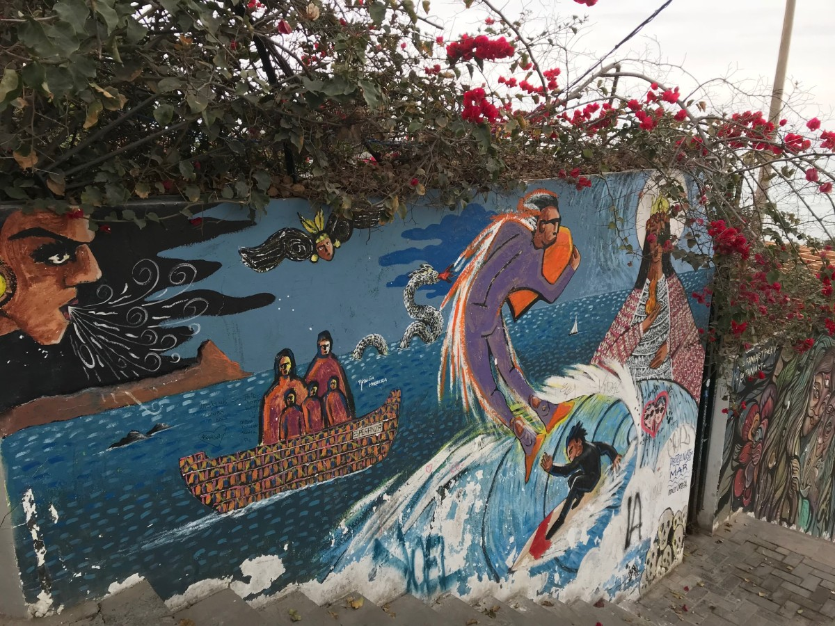 While some of the street art that decorated the walls in Lima, Peru's Barranco district featured sociopolitical statements, much of the art when I visited in July 2018 was  funky, chic, and beautifully bohemian.