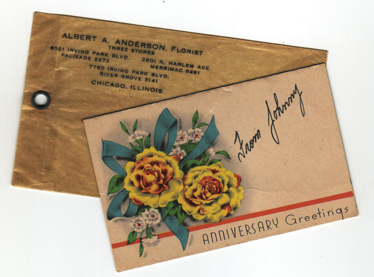 Antique anniversary card and envelope.